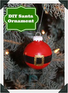 These DIY Santa Ornaments are easy to make and perfect for any tree this Christmas season.  #christmas #craft