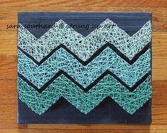 Green Ombre Chevron String Art