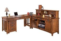 "The Cross Island Home Office Desk from Ashley Furniture HomeStore (AFHS.com). The richly detailed mission design of the ""Cross Island"" home office collection captures the beauty of rich country style with a versatility that enhances any home environment."