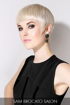 Sharp, angular edges and a vanilla blonde hue dictate this model's flawless look with high-fashion elements.