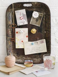rusty tray pinboard, great idea for a magnet board!