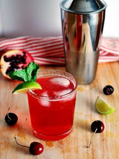 cherri pomegran, cocktail