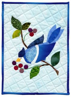 """a berry good lunch"" miniature quilt, see more at http://www.alzquilts.org/13184.html"