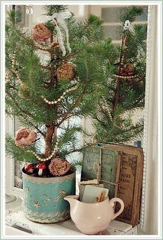vintage christmas, vintag christma, christma cottag