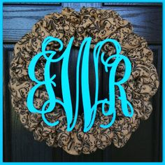 Printed Burlap Wreath with Monogram- Fall Wreath-Front Door Wreath