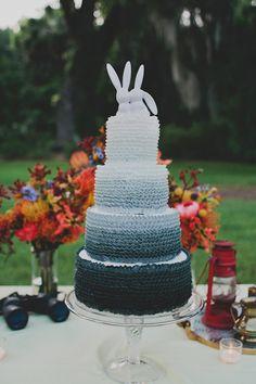 ruffled ombre cake, photo by Red White and Green Photography http://ruffledblog.com/magnolia-plantation-wedding #weddingcake #cakes