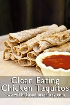 """Healthy Chicken Taquitos! Best """"make-ahead"""" meal or snack ever!!!"""
