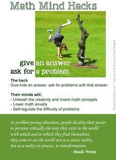 Try this easy and powerful trick with your kids. Instead of asking them math questions, give them an answer. Let them come with a problem that fits that answer. #MathMindHacks