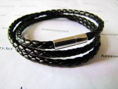 men women leather bracelet with leather woven cuff by braceletcool, $4.50