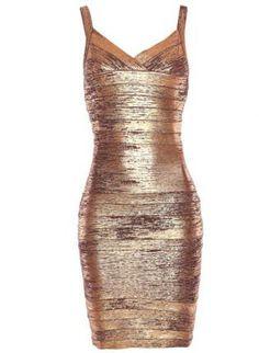 Bqueen Thin Strap Woodgrain Foil Print Dress H168Z4,  Dress, Bqueen  Strap Woodgrain Foil Print