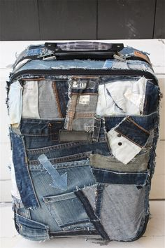 diy upcycle jeans, what to make out of old jeans, old suitcase diy, denim bag diy