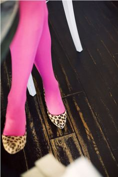 I love the hot pink tights with the leopard shoes, but what goes on top? Black skirt, then what?