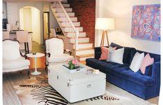 Blue velvet couch. TheEverygirl_HomeTour_ErinGates