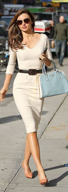 Always so classy blue handbag outfit, miranda kerr, outfits, fashion, sleev dress, neutral shoes, dresses, prada handbags, the dress