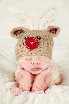 Christmas Hat  Newborn Photo Prop  Deer Hat  Red by bitOwhimsy, $42.00