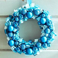 Ornament wreath! Adorable & Easy :) How-to: http://www.midwestliving.com/homes/seasonal-decorating/holiday-ideas/diy-wreaths/page/2/0
