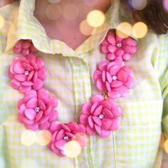 gingham, pink flowers, red, statement necklaces, style, shirts, j crew, green, yellow