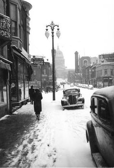 Love this old school photo of #Madison's State Street!