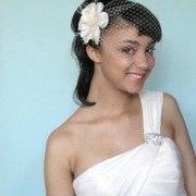 ivory flower + birdcage veil idea, ivori flower, birdcag