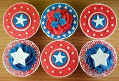 Captain America Themed Birthday Party | Family and Life in Las Vegas themed birthday parties, america cupcak, themed cupcakes, captain america, party cupcakes, 5th birthday, 4th of july, cupcake decorations, birthday cakes