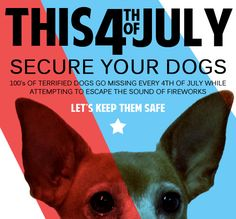 "Secure your dogs this 4th Of July! Please ""SHARE"" this graphic to help prevent dogs from running away during the fireworks! Thanks!!!"