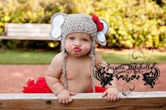 Crochet Elephant Hat with Earflaps and Alabama Red by mimisbabies