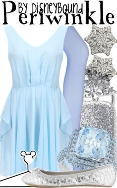 """""""Periwinkle"""" ~ Tinker Bell's shimmering sister inspired this Fall/Winter or even light Spring look. Designed by Leslie Kay or also known as the designer of Disneybound outfits. Can be found on Polyvore or her personal shop or tumblr account."""