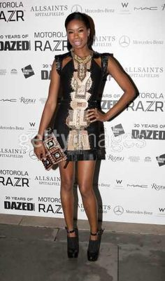 model TOLULA ADEYEMI wears the HILDA to DAZED & CONFUSED 20th anniversary party at the Somerset House