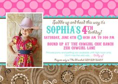 Vintage COWGIRL Printable Photo Invitation Cowgirl by LollipopInk, $15.00
