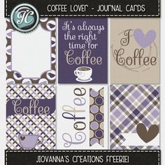 Free Coffee Lover Journal Cards from Jiovanna's Creations