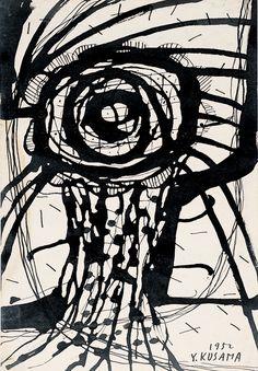 Yayoi Kusama (b. 1929), A Flower, 1952. Ink on paper, 10 5/8 × 7 3/8 in. (27 × 18.7 cm). Collection of the artist. © Yayoi Kusama. Image courtesy Yayoi Kusama Studio Inc.; Ota Fine Arts, Tokyo; Victoria Miro Gallery, London