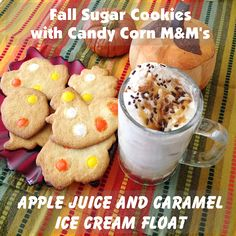 Super Easy Fall Recipes: Candy Corn Sugar Cookies and Apple Juice Ice Cream Float #HarvestFun #shop #recipe #cbias