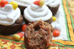 Candy topped carrot cupcakes with #CoolWhipFrosting