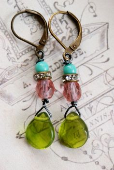Gina. peridot glass dropsaquarhinestone by tiedupmemories