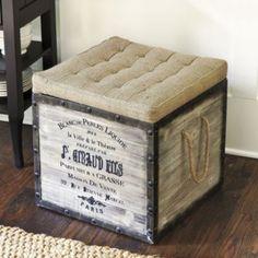 Ballard Designs: $279 Burlap Seat Storage Ottoman   Ballard Designs