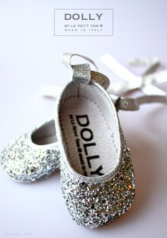 BALLERINA'S  silver glitter baby shoes