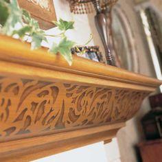 decor, scroll border, fireplace mantels, small revers, revers scroll, border stencil, design studios, stencils, royal design