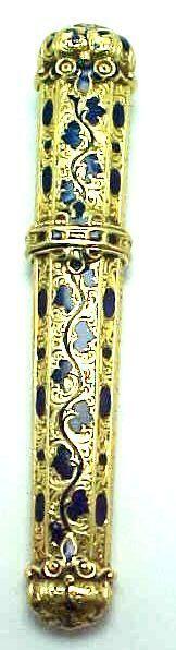 Rare 18k Gold & Blue Enamel French 1840s Etui