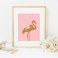 This glam flamingo will look right at home on your vanity table. #goldrush