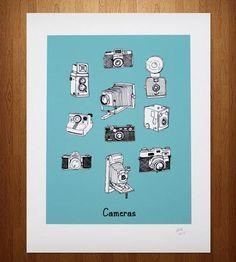 camera print, vintag camera, doodles, vintage cameras, art prints, camera doodle, old cameras