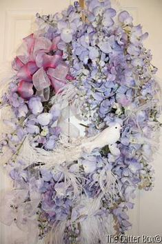 I ❤ ribbonwork . . . Wisteria Wreath Lavender Shabby Cottage Chic