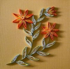 paper quill, quill flower, vine, decorating ideas, diy gifts, orange flowers, quilling patterns, hand made, cards