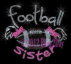 Ponytail Football Sister - Iron on Rhinestone Transfer Bling Hot Fix Sports School - DIY on Etsy, $8.99