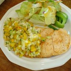 Grilled Chicken Breast with Cucumber and Pepper Relish Allrecipes.com