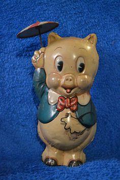 Vintage Porky Pig Wind Up Tin Toy ~ 1939