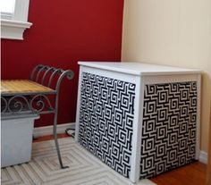 Table with fabric . . . Litter box cover!