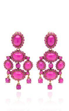 Shocking Pink Iconic Opaque Cabochon Drop Earring by Oscar de la Renta