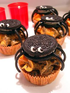 Spider cupcakes - any flavor cupcake with reg or spiced orange frosting...