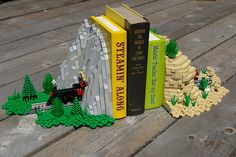 "LEGO Train Bookends ~The Full Set: ""Steamin' Along"" and ""Makin' Tracks"" by Deborah Higdon screen, books, bookends, gifts, legos, cousins, lego bookend, trains, kid"