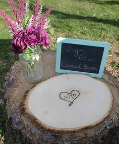 Rustic Wedding Tree Slice Guest Book Alternative by PNZdesigns, $28.50